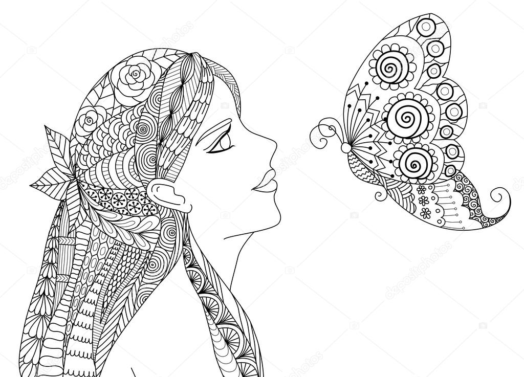 Zentangle pretty girl looking at flying butterfly design