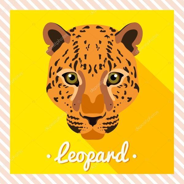 Vector Portrait Of Leopard. Symmetrical Portraits