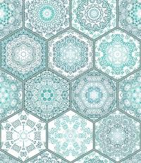 Blue green Tiles Floor Ornament Collection Gorgeous ...