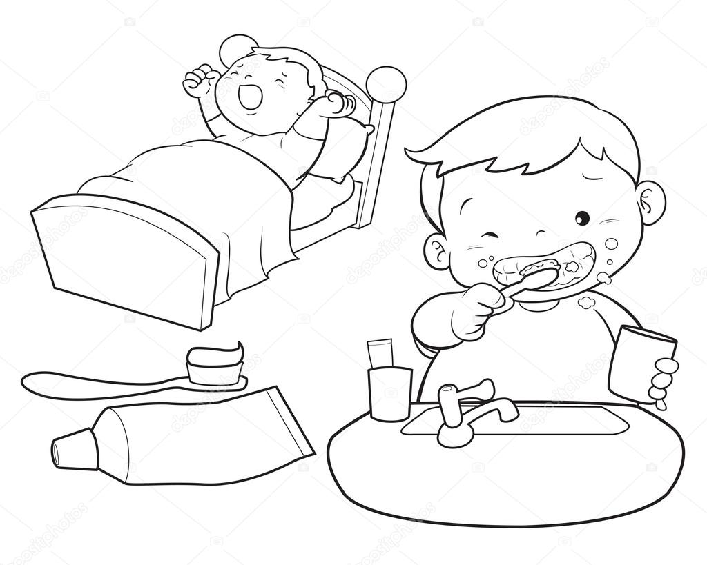 Cute Boy Wakeup Line Art