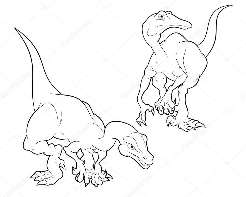 struthiomimus cartoon lineart — Stock Vector © watcartoon