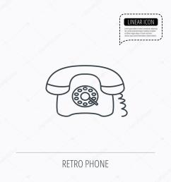 old telephone sign linear outline icon speech bubble of dotted line  [ 1024 x 1024 Pixel ]
