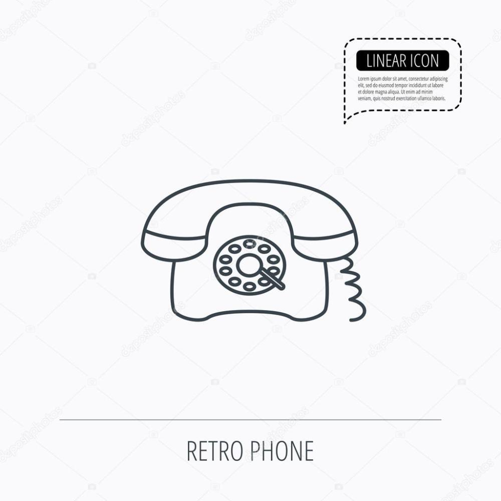 medium resolution of old telephone sign linear outline icon speech bubble of dotted line