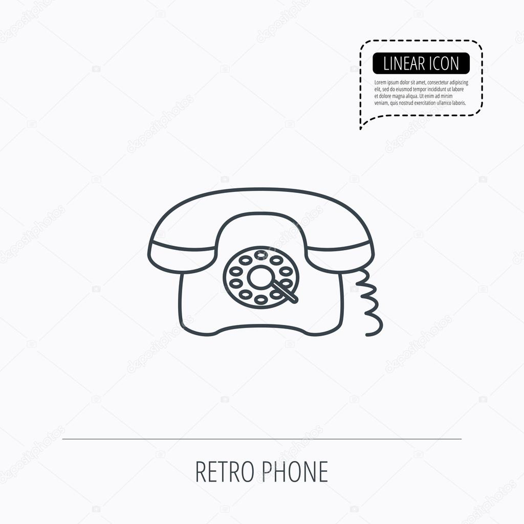hight resolution of old telephone sign linear outline icon speech bubble of dotted line