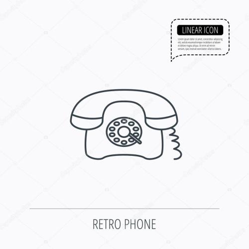 small resolution of old telephone sign linear outline icon speech bubble of dotted line