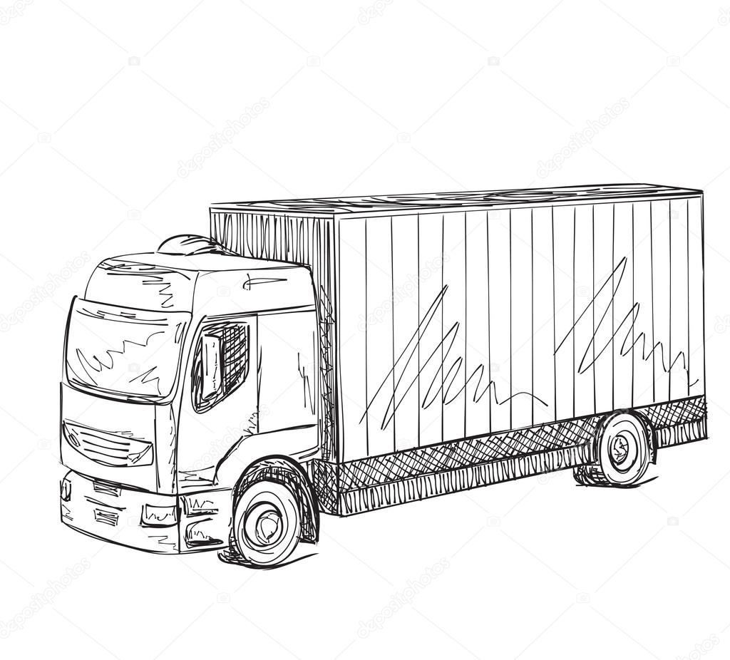 Delivery Service Hand Drawn Truck Logistics