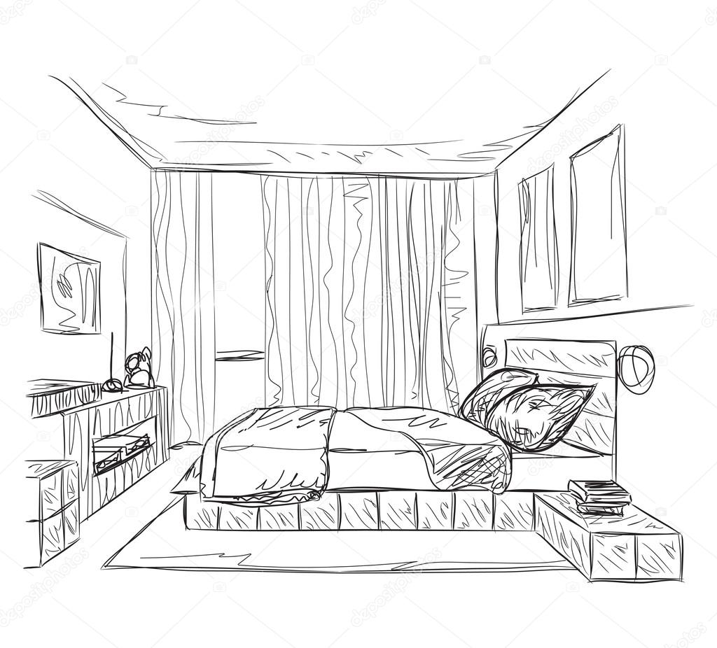 Bedroom modern interior sketch — Stock Vector © Yuliia25