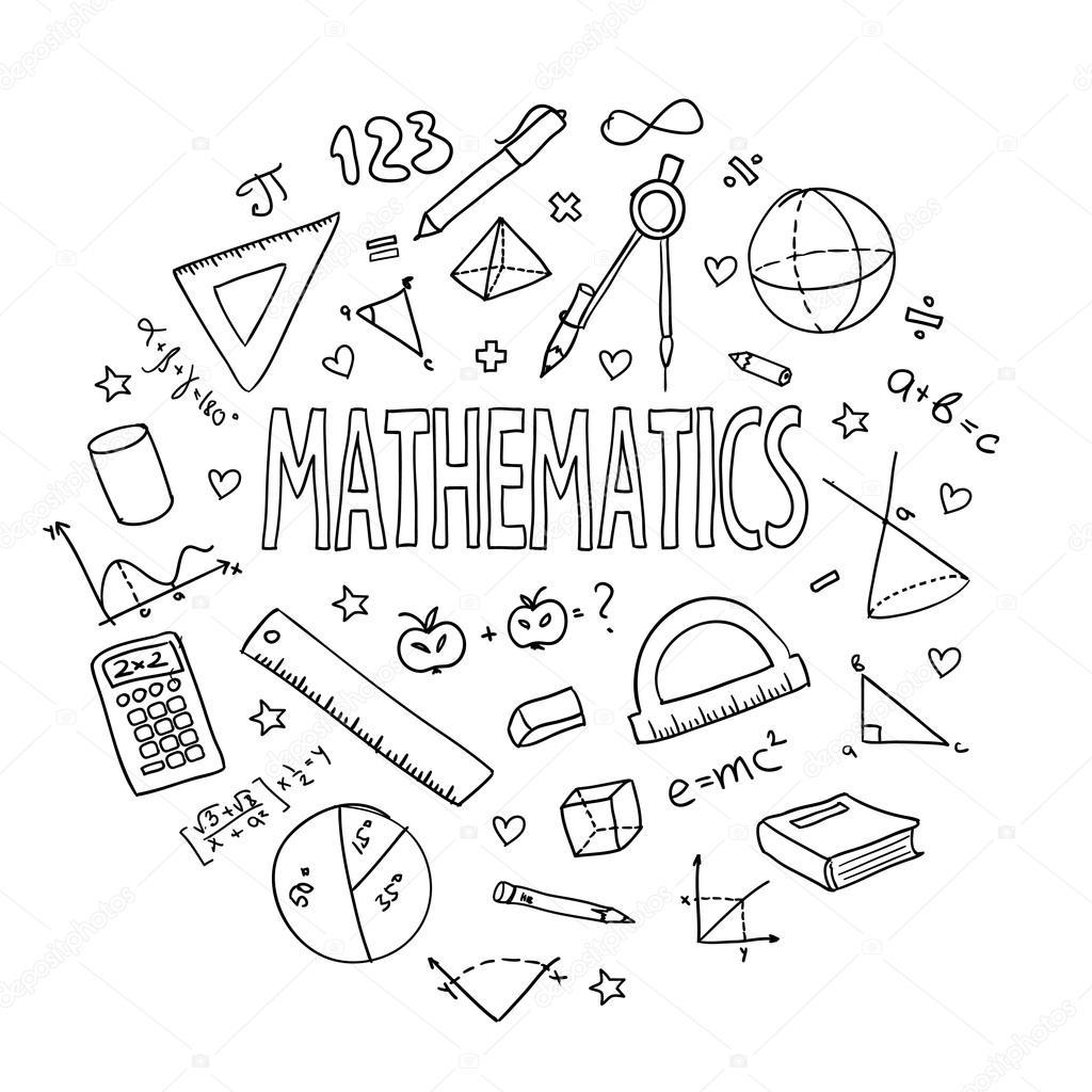 Matemáticas de conjunto, la escuela vector dibujado a mano