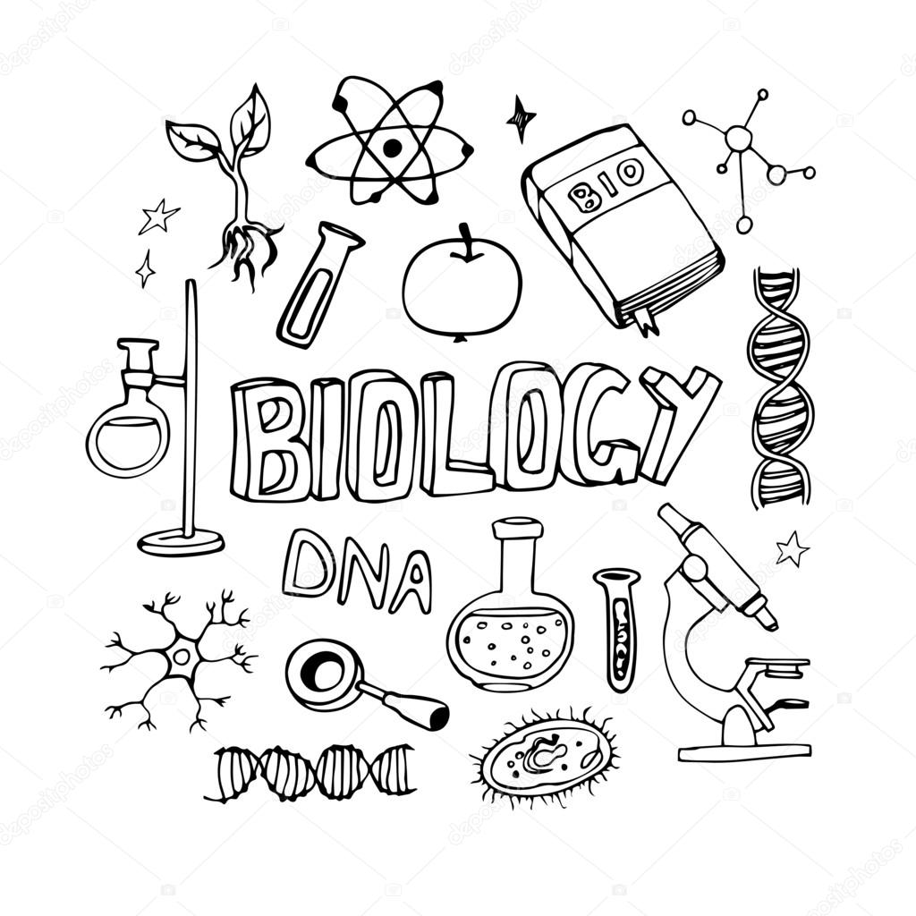 Science icons doodles vector set. School biology lesson