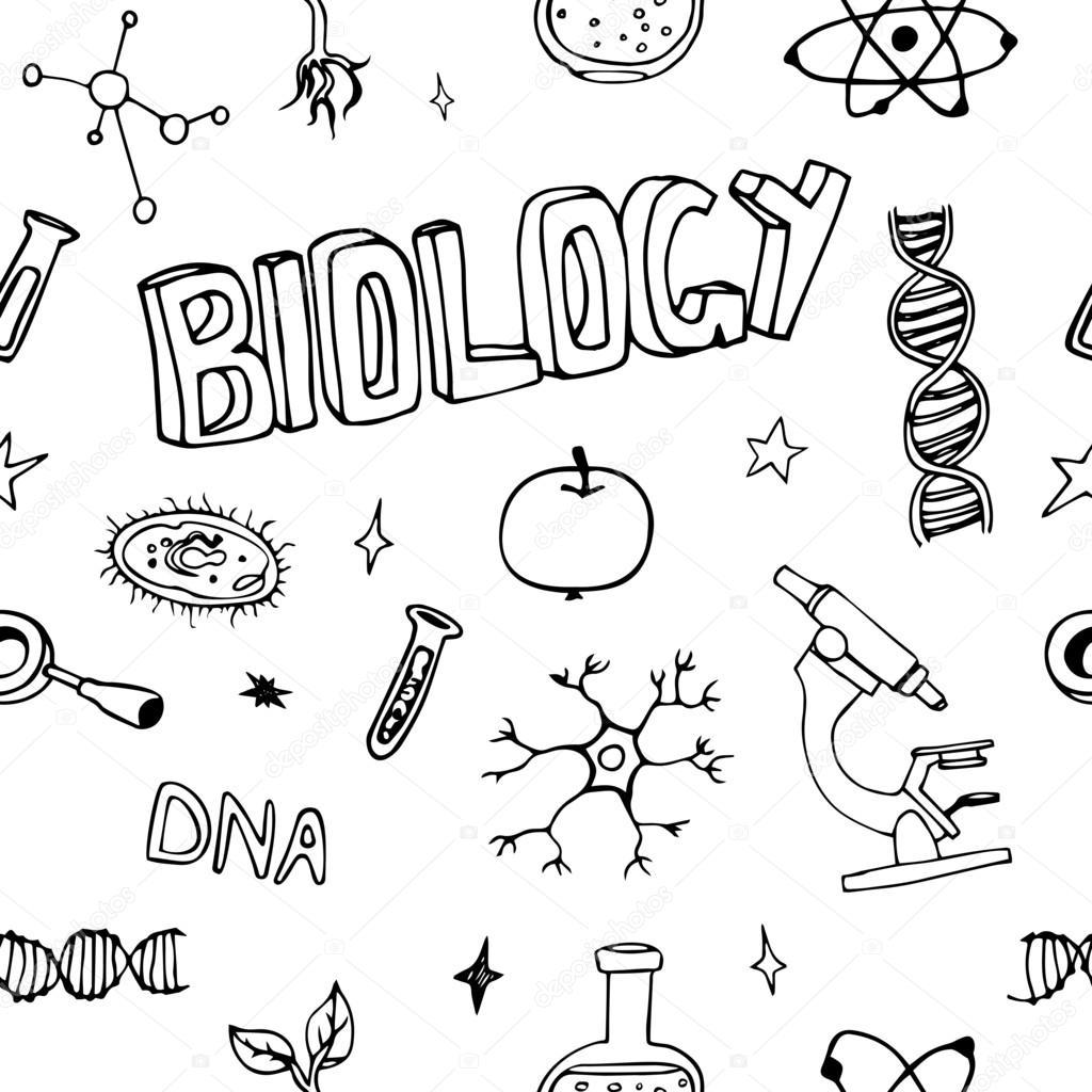 Science doodles seamless vector pattern. Biology symbols