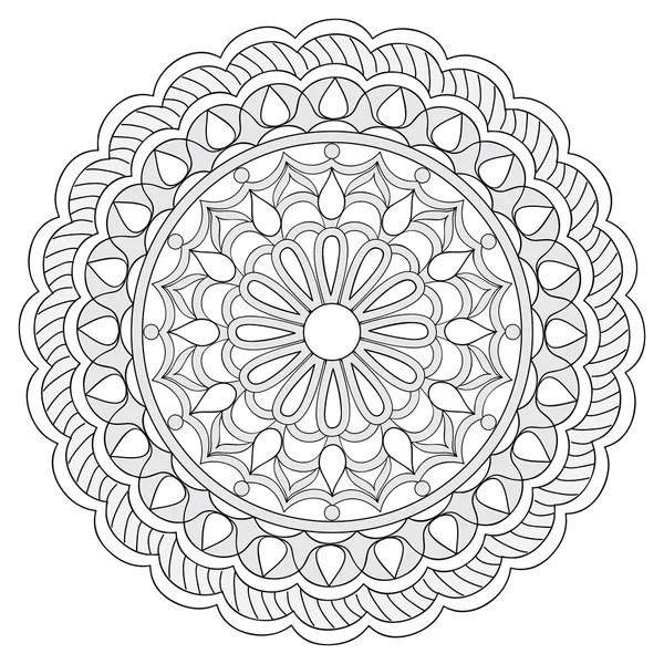 Zentangle Mandala in monochrome doodle style. Hand drawn