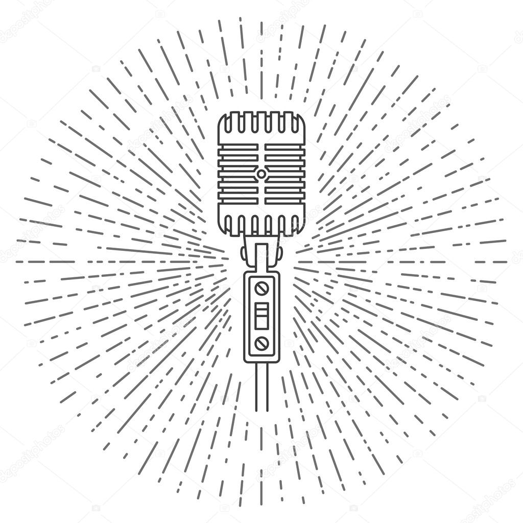 Retro Microphone Line Icon Good For Electronics Store