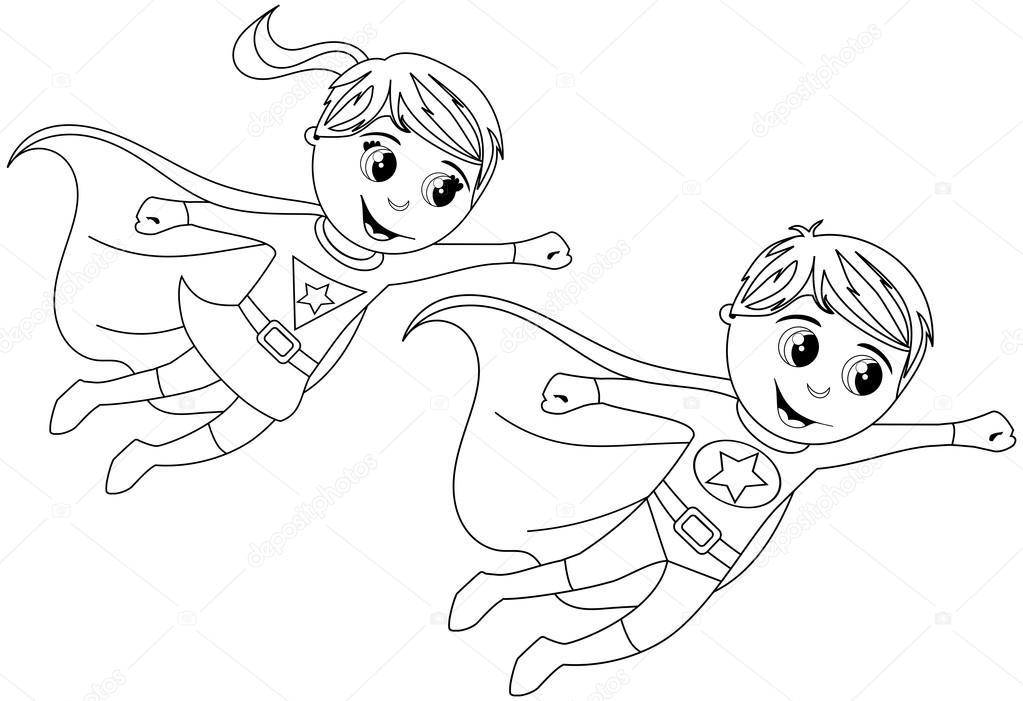Enfants garçon et fille super-héros voler pour Coloriages