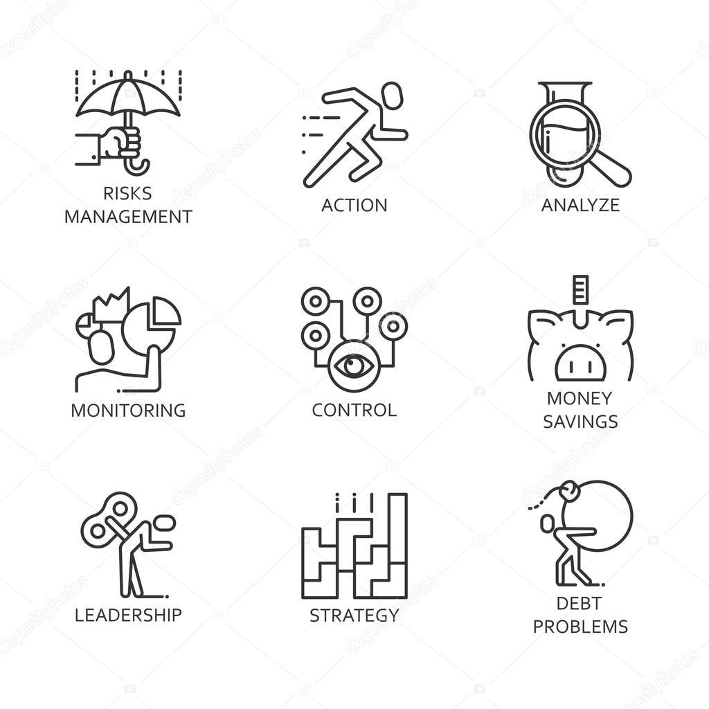 vektorové čáry nastavit ikony symbol obchodní proces
