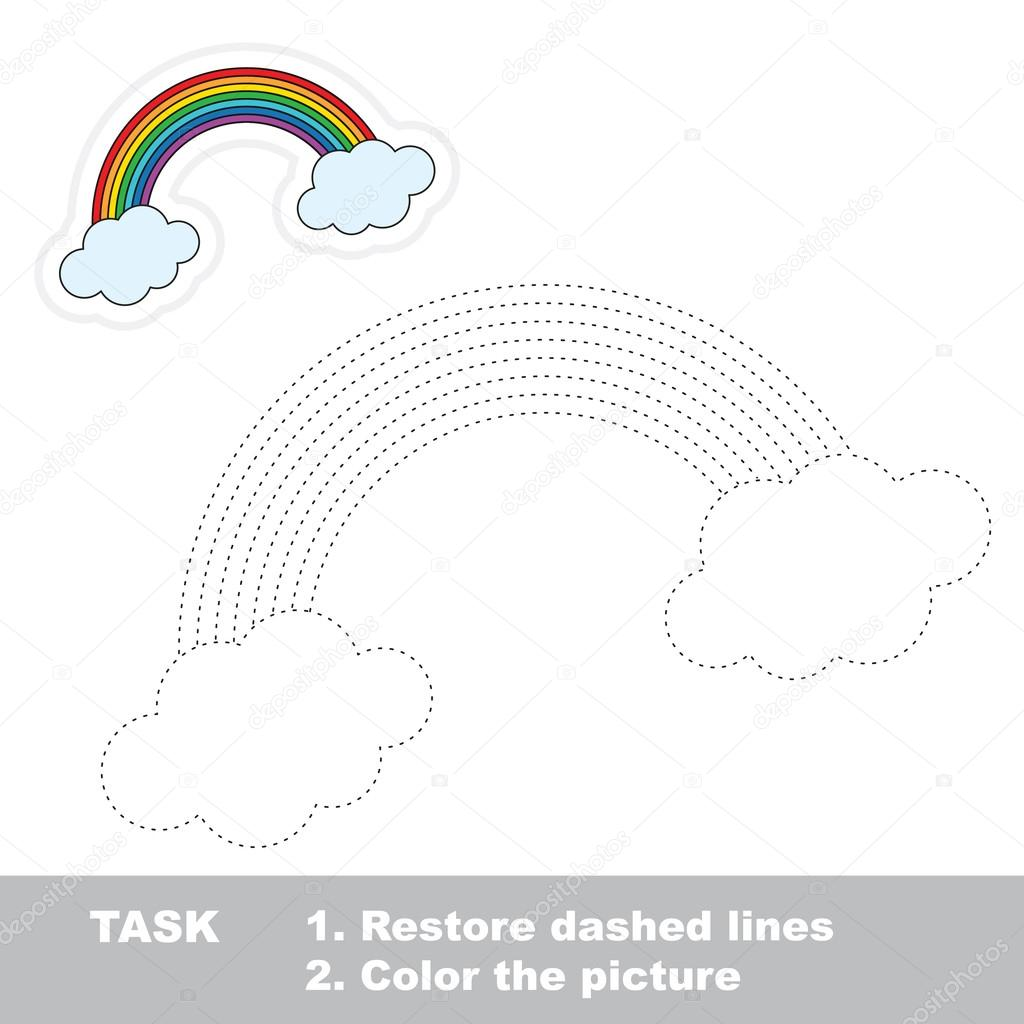 Rainbow To Be Traced Vector Trace Game