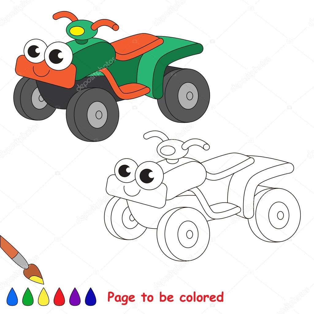 Green Quad Bike Cartoon Page To Be Colored Stock Vector