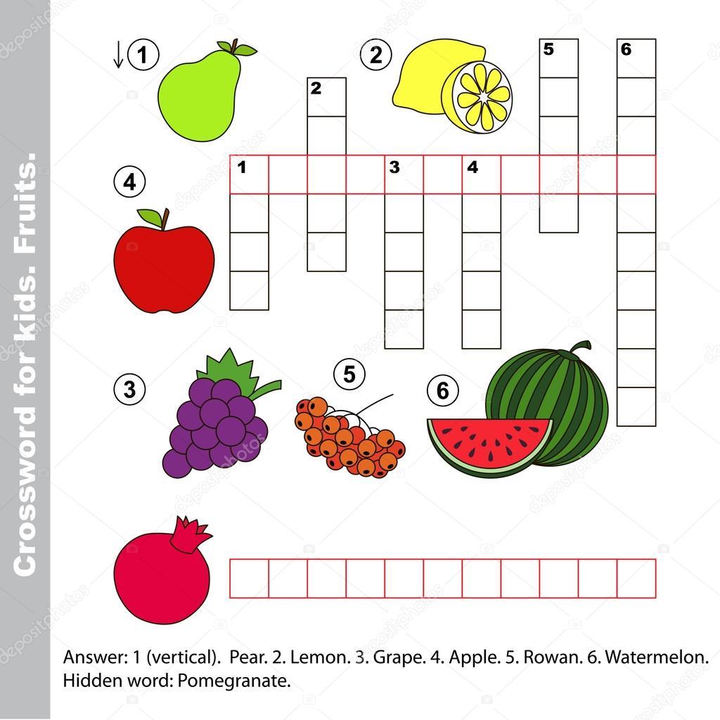 Crucigrama De Frutas Para Ninos