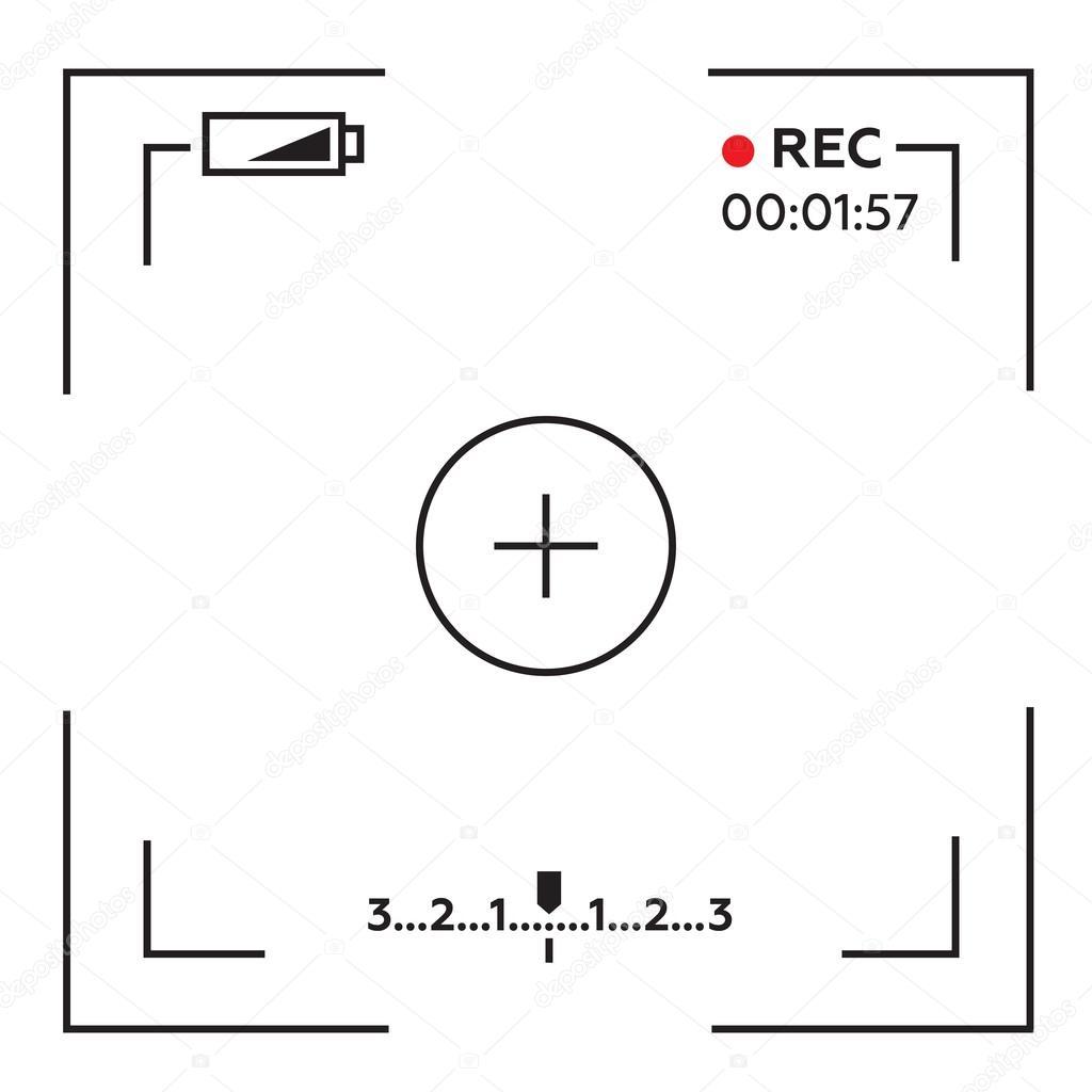 카메라 뷰파인더입니다. 템플릿 화면 카메라의 초점입니다. 뷰파인더 카메라 녹화 — 스톡 벡터 © myub