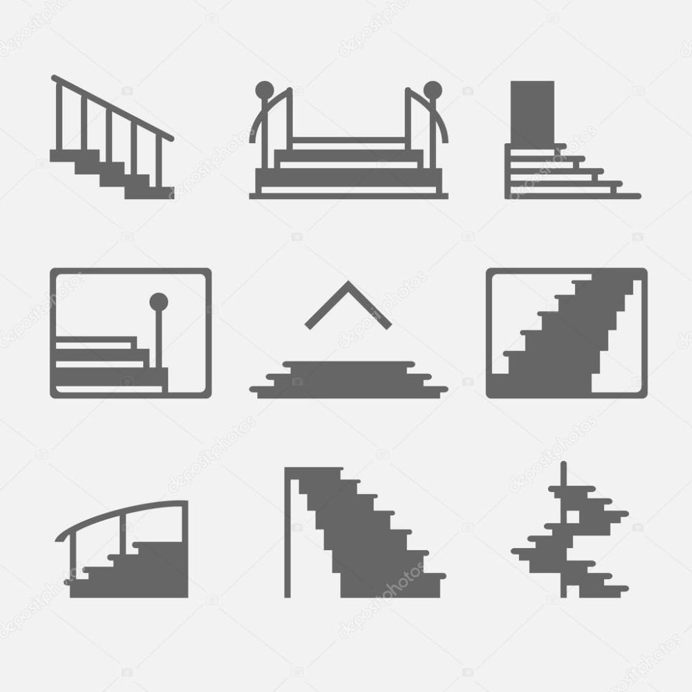 medium resolution of different types of stairs or stairway icons vector set of logo elements or symbols vector by cvetoed