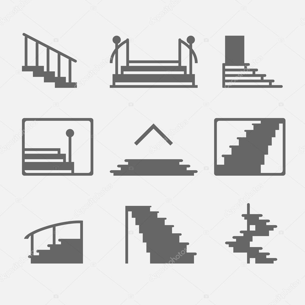 hight resolution of different types of stairs or stairway icons vector set of logo elements or symbols vector by cvetoed