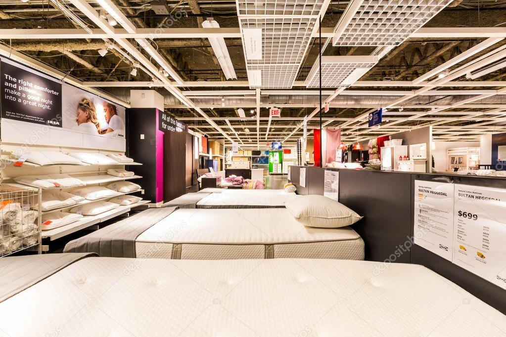 Beds And Mattresses Section In An IKEA Store Stock