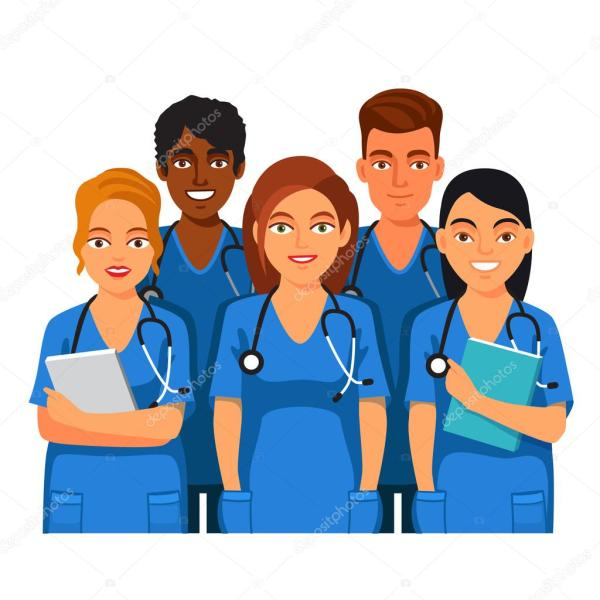 group of medical students nurses