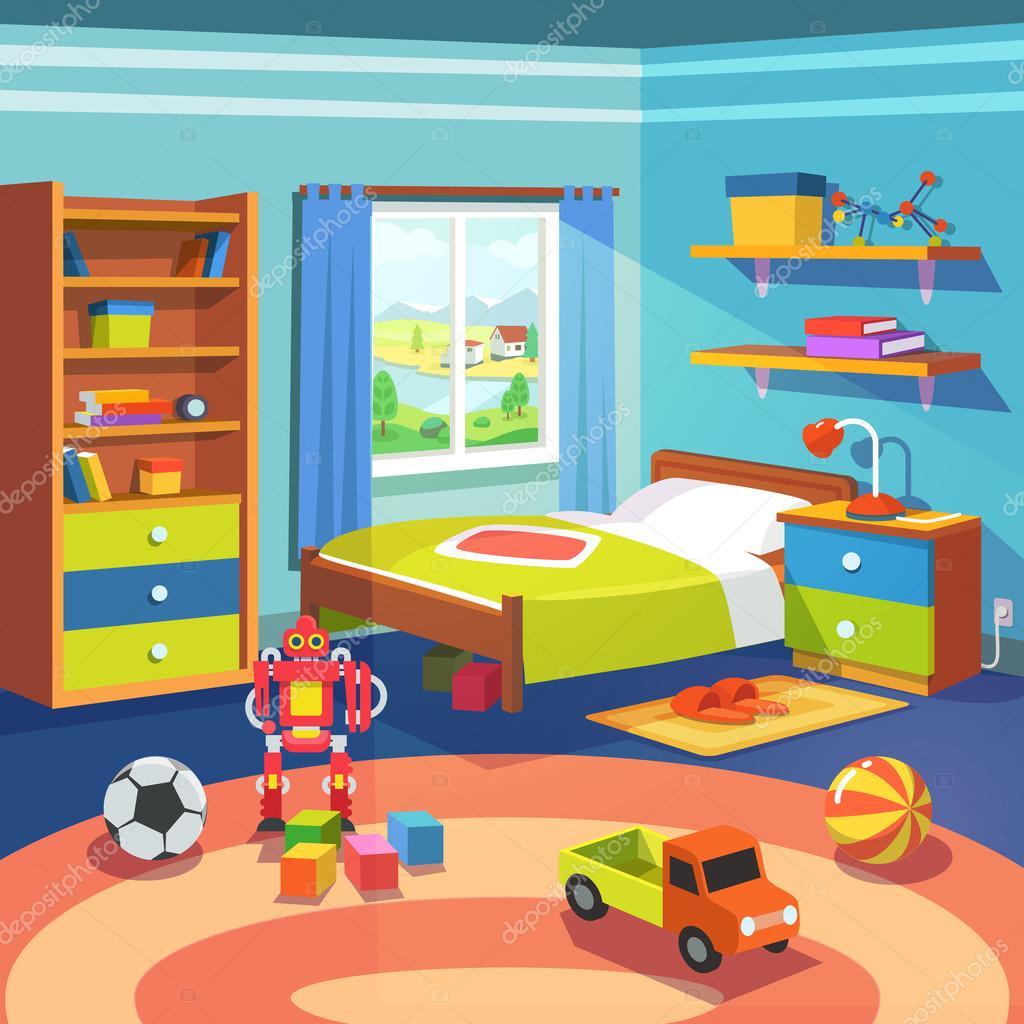 Quarto de menino com cama armrio e brinquedos no cho