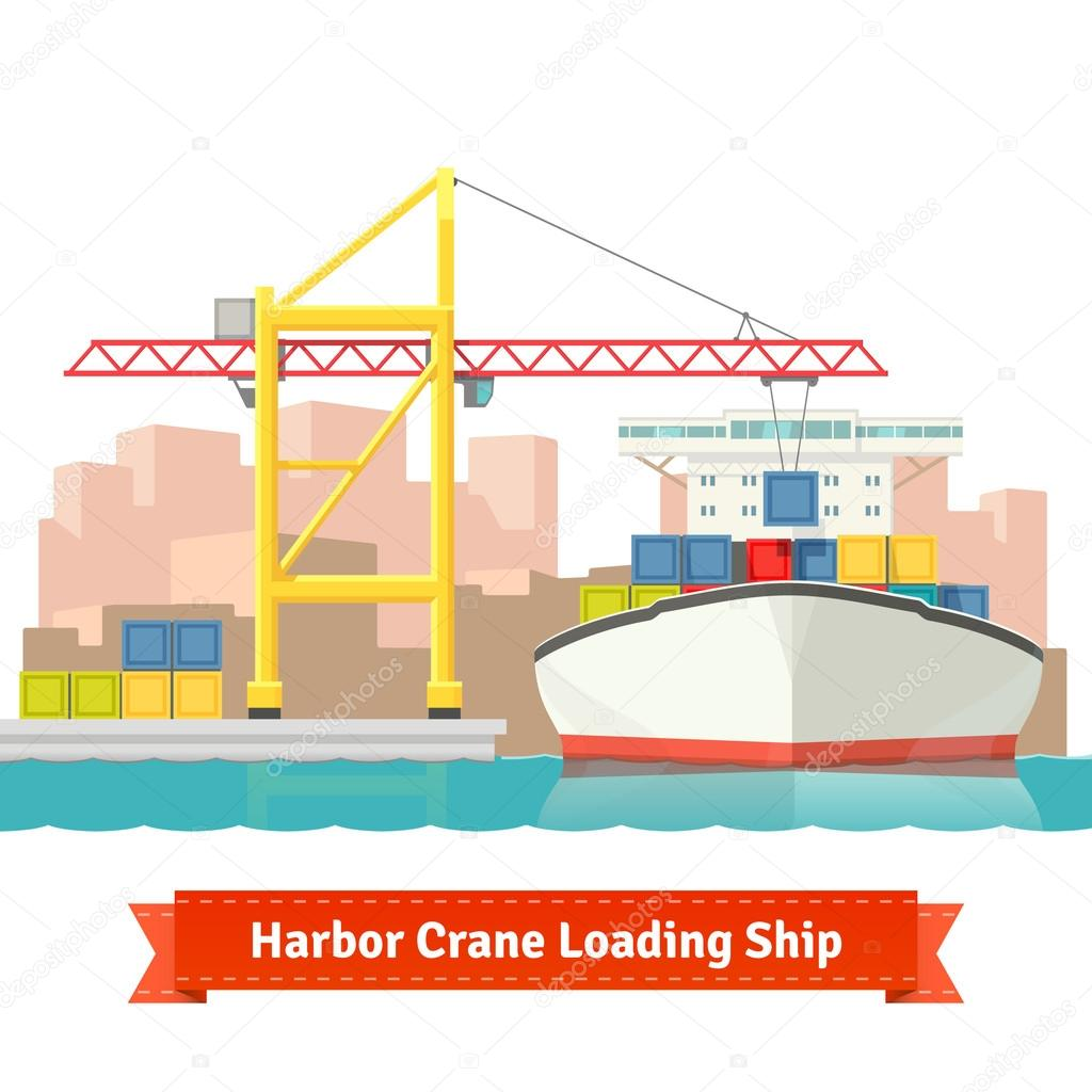 hight resolution of container cargo ship loaded by big harbour crane in the town port naval transportation concept vector flat style illustration vector by iconicbestiary