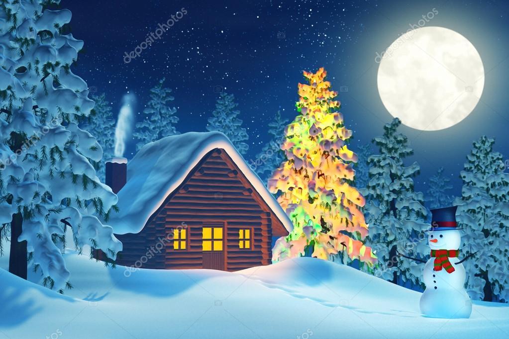 Cabina rbol de Navidad y mueco de nieve en paisaje de