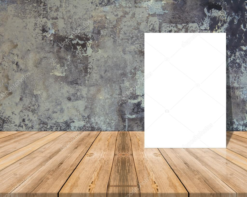 White Blank Poster In Concrete Wall And Tropical Wooden Table,template Mock  Up For Your