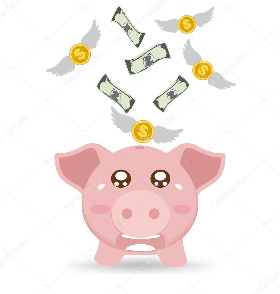 儲錢罐哭當看到錢飛走了 — 圖庫矢量圖像© aomvector #109691588