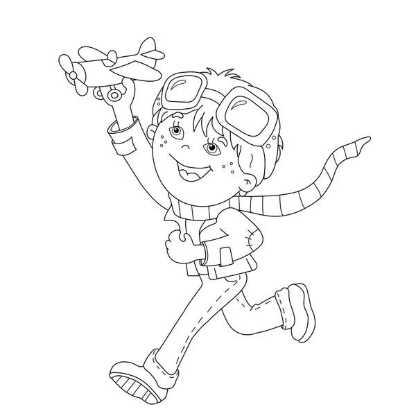 Coloring book with cartoon aviator — Stock Vector