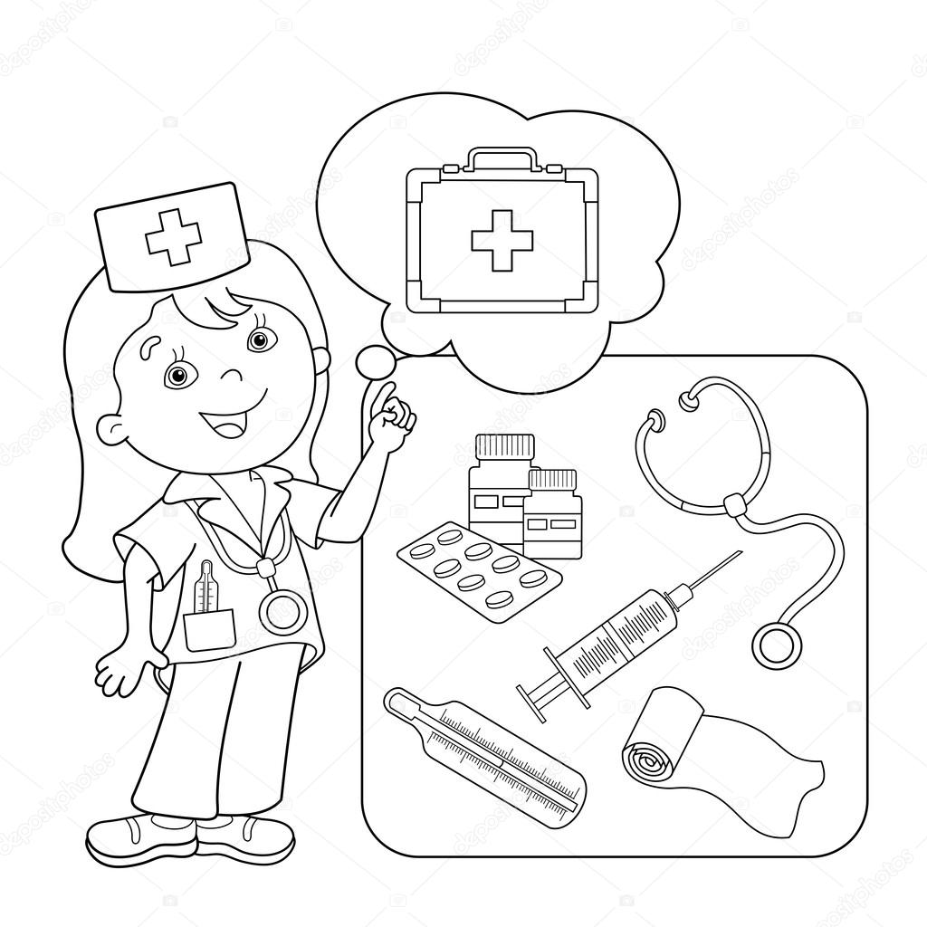 Coloring Page Outline Of cartoon doctor with first aid kit