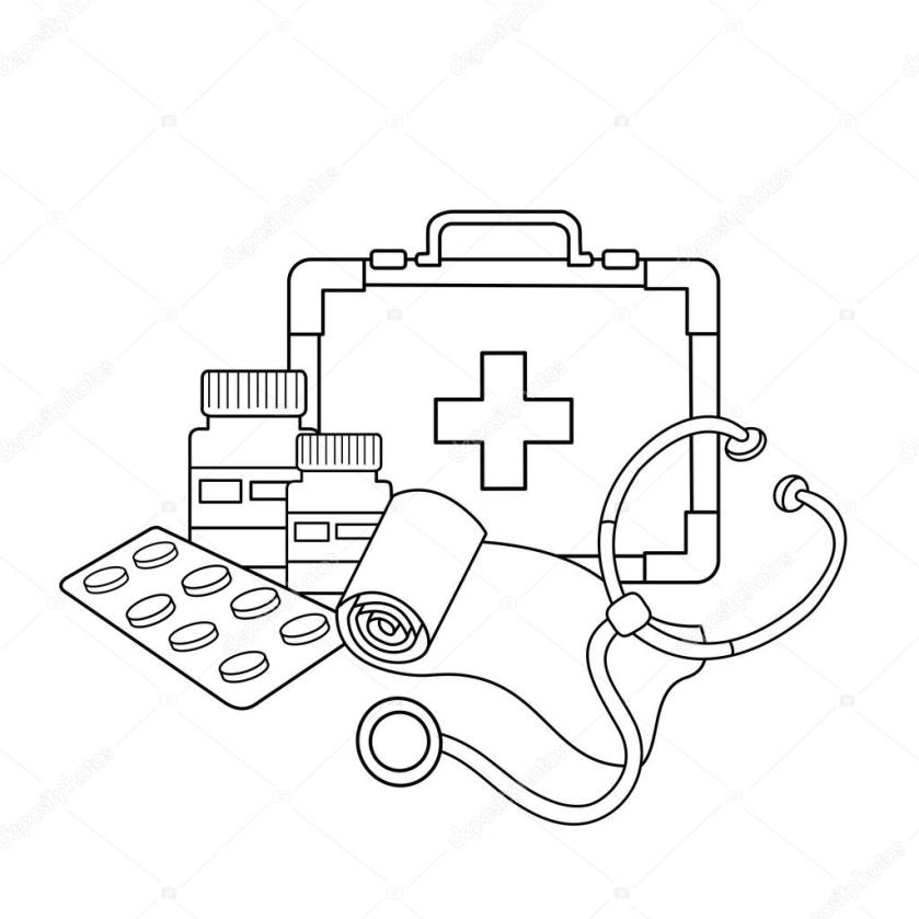coloring page outline of medical instruments. medical logo
