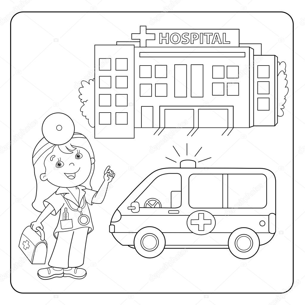 Coloring Page Outline Of doctor. Ambulance car. Hospital