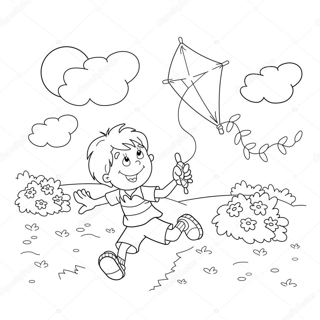 Colorir Pagina Contorno Dos Desenhos Animados Menino Correndo Com Uma Pipa Livro De Colorir