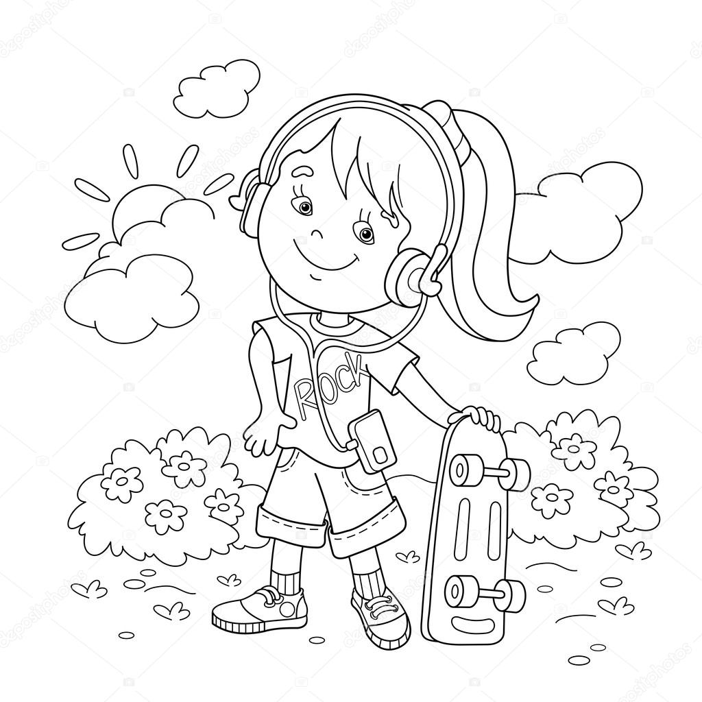 Coloring Page Outline Of Girl In Headphones With