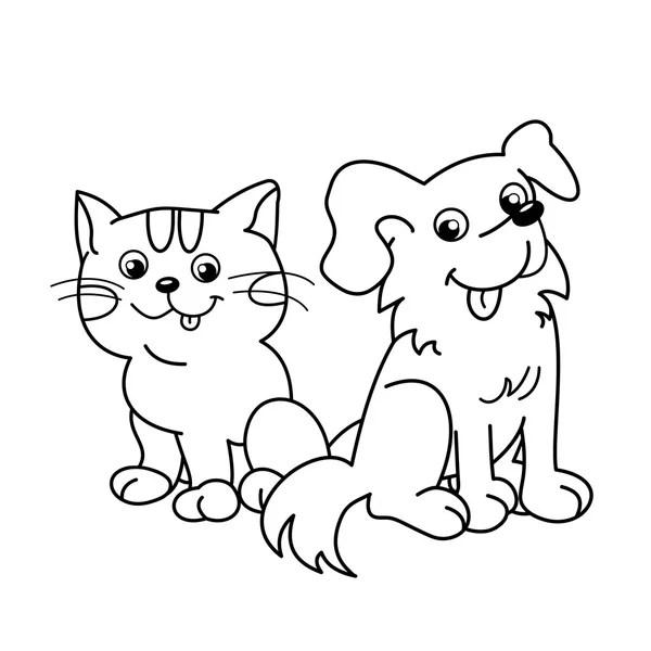Pies i kot kąpiel. Książka do kolorowania — Grafika