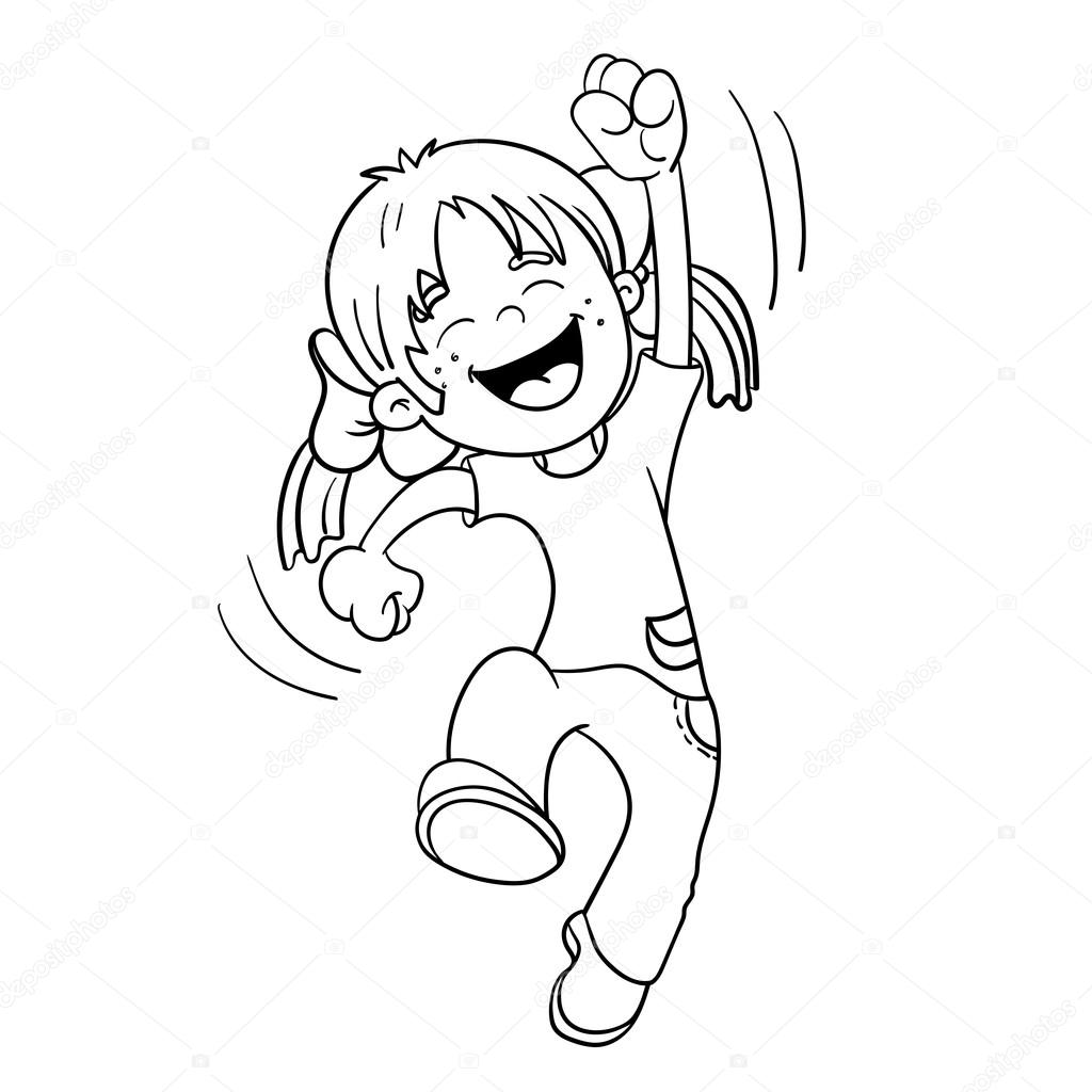 Coloring Page Outline Of A Cartoon Jumping Girl — Stock