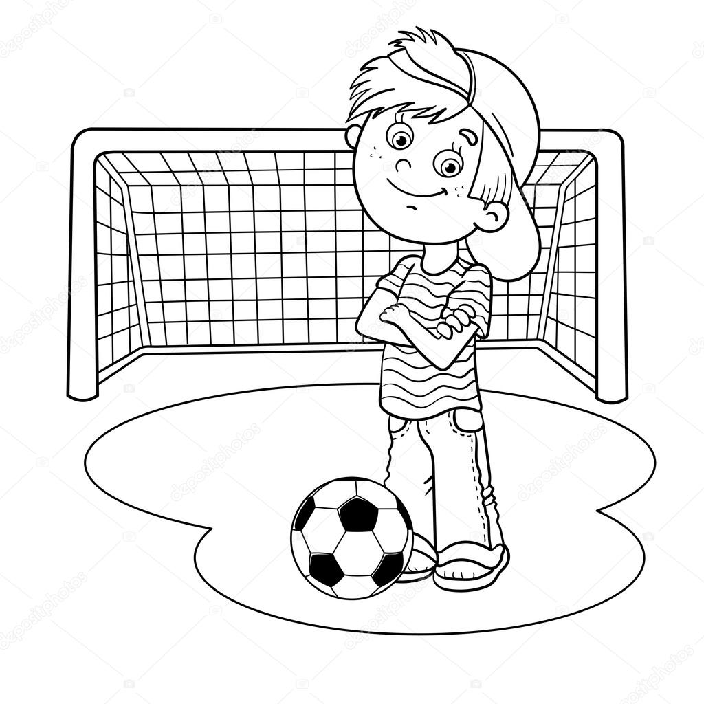 Coloring Page Outline Of A Boy with a soccer ball and