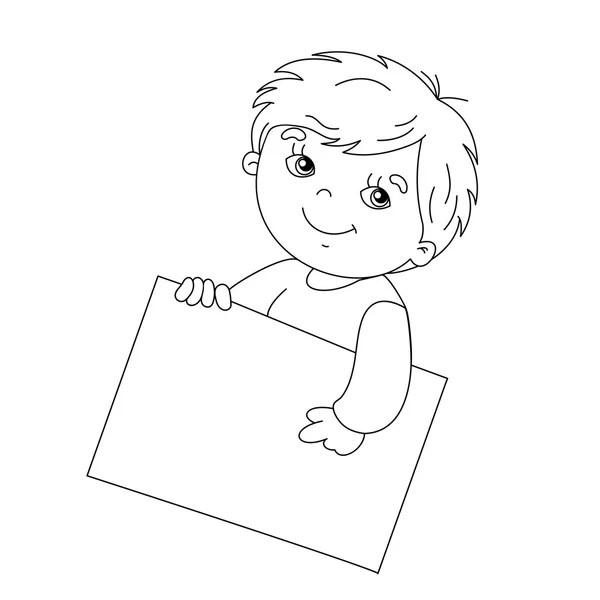 cute boy cartoon coloring page — Stock Vector © izakowski