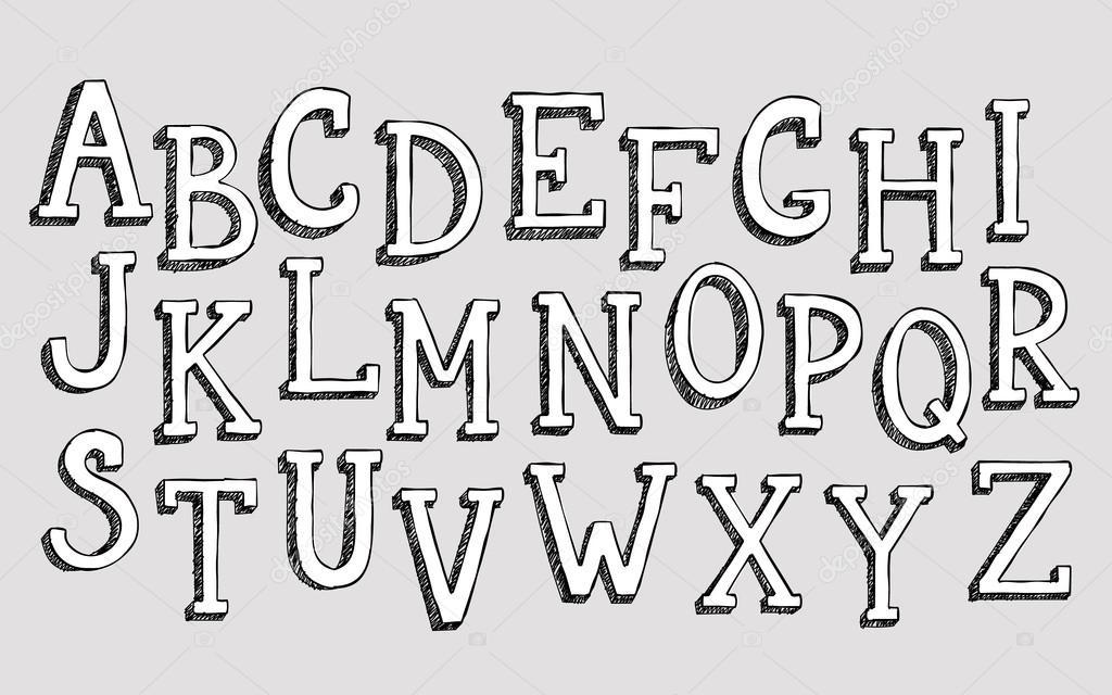 Doodle 3d alphabet — Stock Vector © LenaRo #88391242