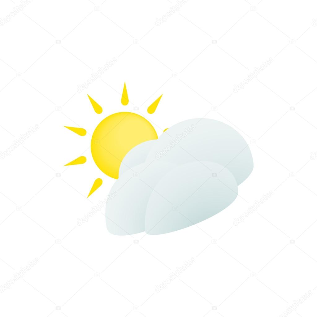 hight resolution of sun and cloud icon isometric 3d style stock vector