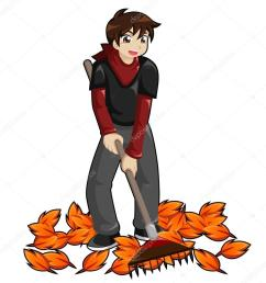 kid raking leaves royalty free stock illustrations [ 1024 x 1024 Pixel ]