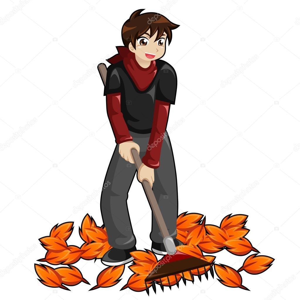 hight resolution of kid raking leaves royalty free stock illustrations