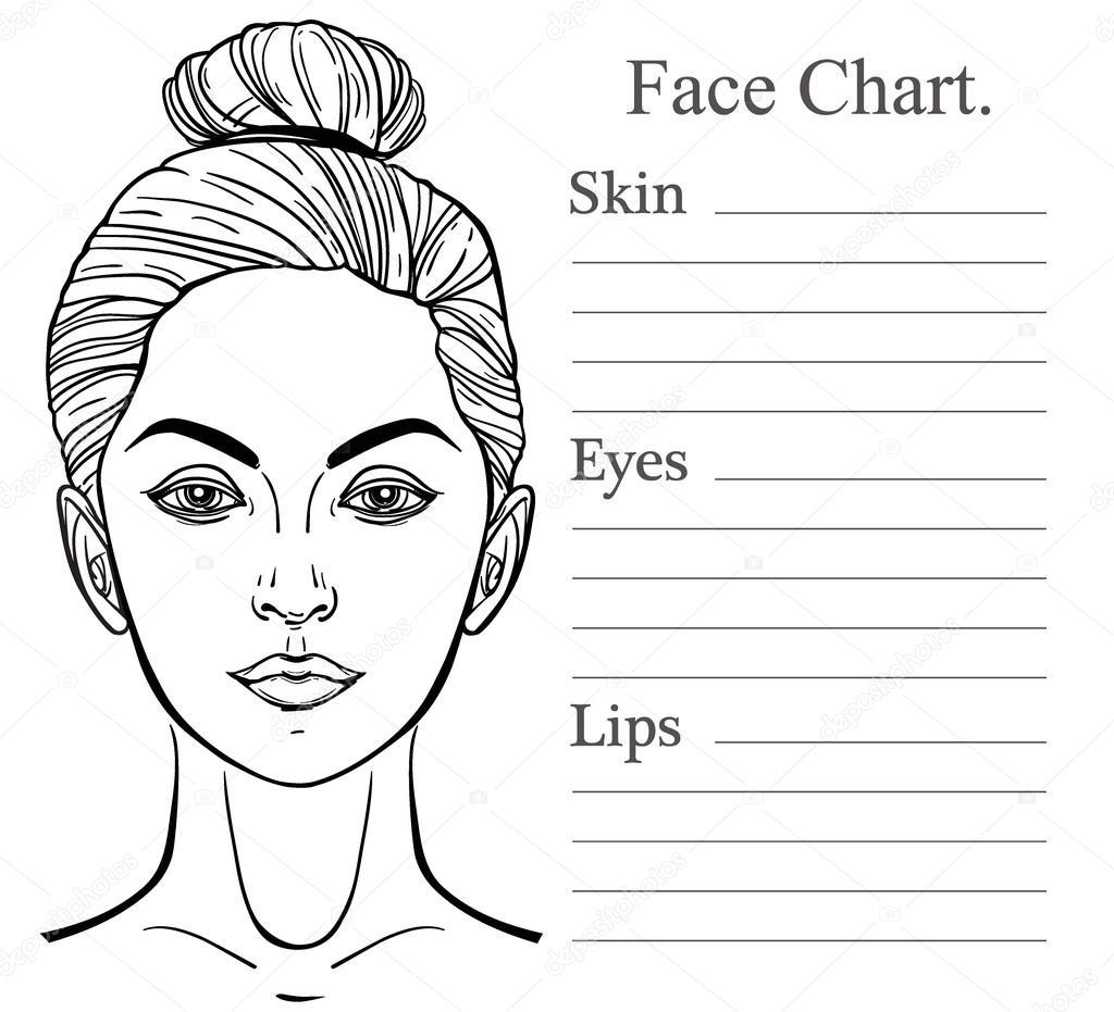 Female Face Chart Make Up Artist Blank