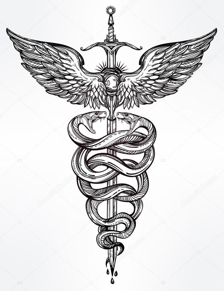 Symbole du caducée du Dieu illustration de mercure — Image