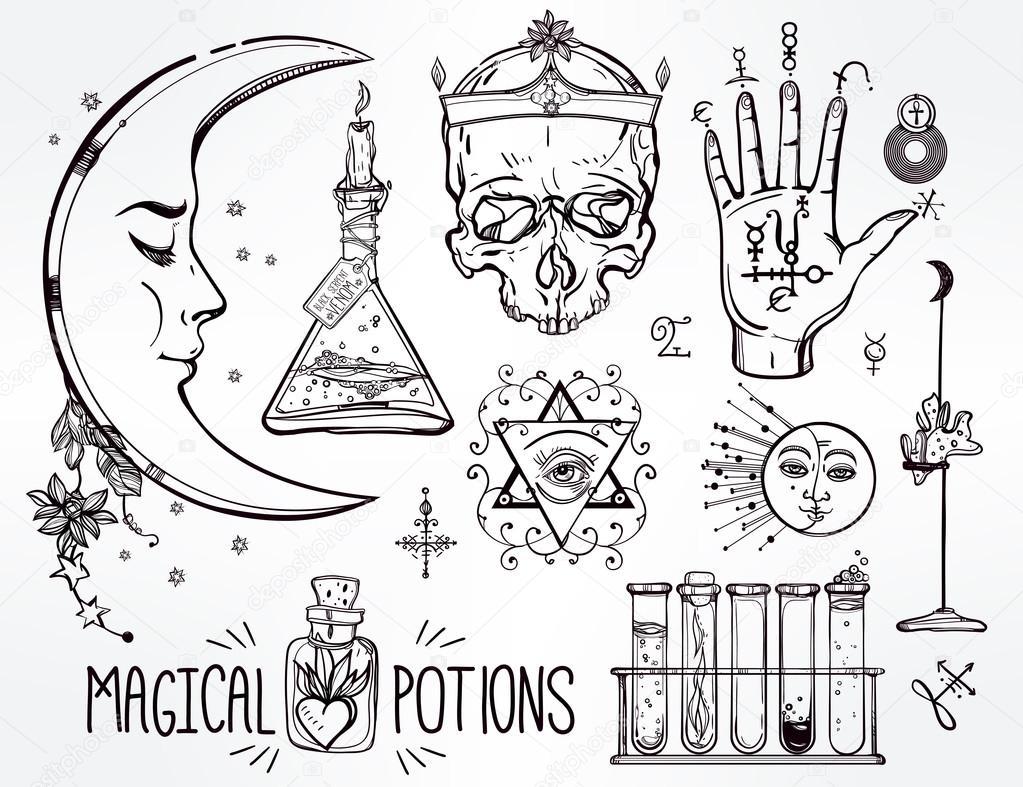 Set of trendy vector Alchemy symbols — Stock Vector