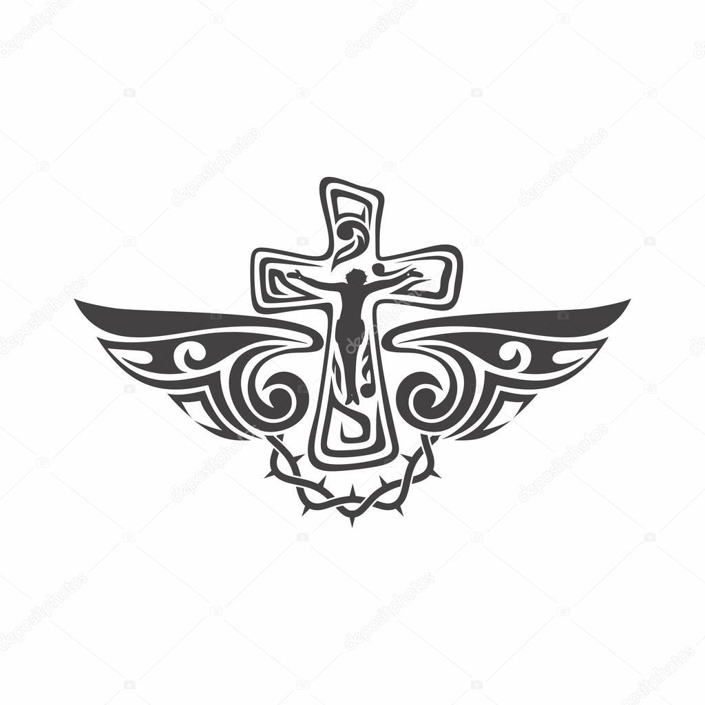 Dibujos Cruz Con Alas Marcas Del Gótico Y Del Tatuaje Símbolos