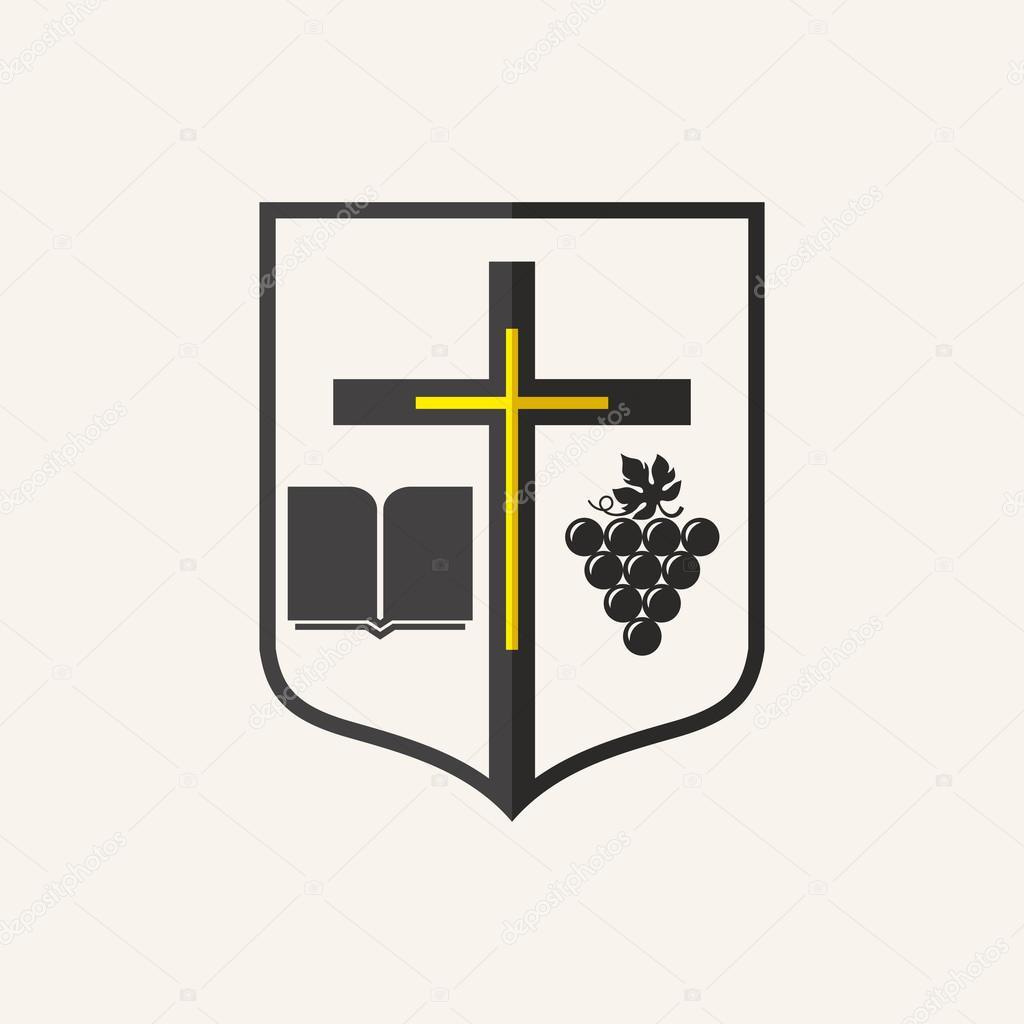 Church Logo Cross Shield Bible G S Icon